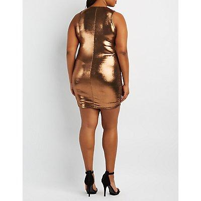 Plus Size Metallic Embellished Neck Dress