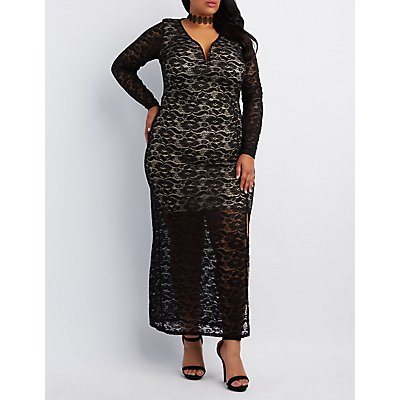 Plus Size Plunging Lace Maxi Dress