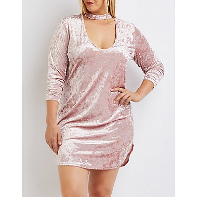 Plus Size Velvet Cut-Out Mock Neck Dress
