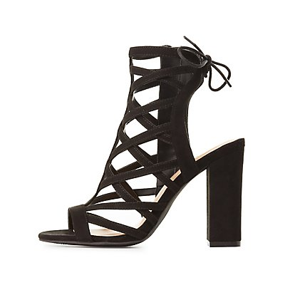 Caged Lace-Up Back Sandals