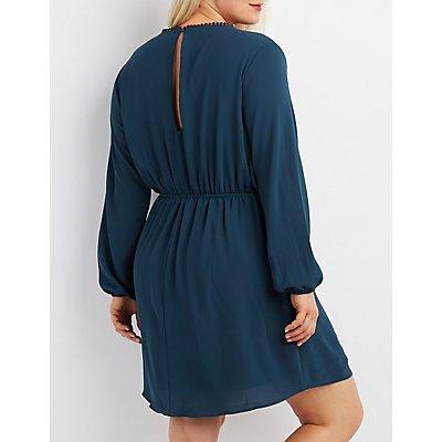 Plus Size Crochet-Trim Surplice Dress
