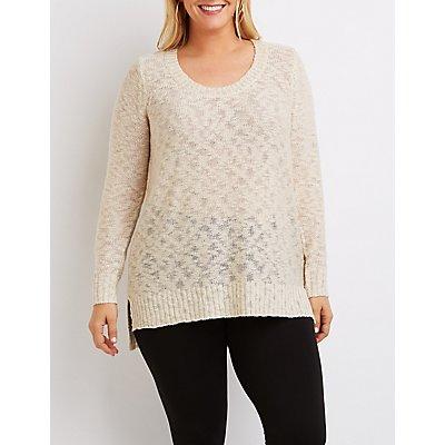 Plus Size Slub Knit Scoop Neck Sweater