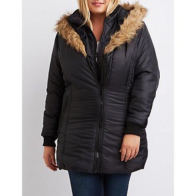 Plus Size Faux Fur Hooded Puffer Jacket