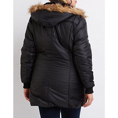 Plus Size Faux Fur Hooded Puffer Jacket