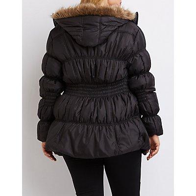 Plus Size Faux Fur-Trim Puffer Jacket