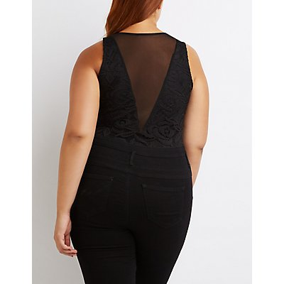 Plus Size Lace & Mesh Bodysuit