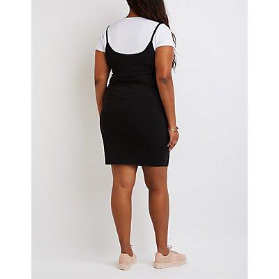 Plus Size Strappy Layered Dress