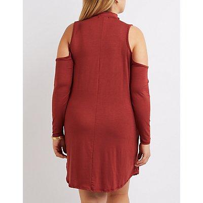 Plus Size Mock Neck Cold Shoulder Dress