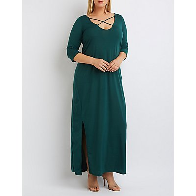 Plus Size Strappy Slit Maxi Dress