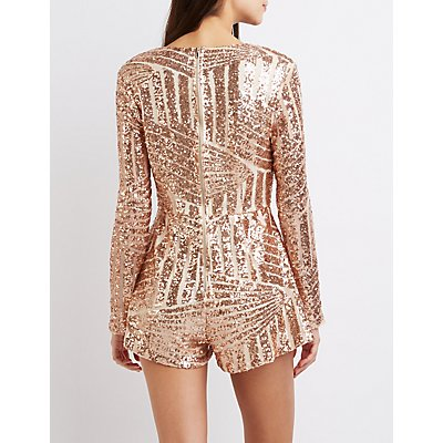 Sequin V-Neck Romper