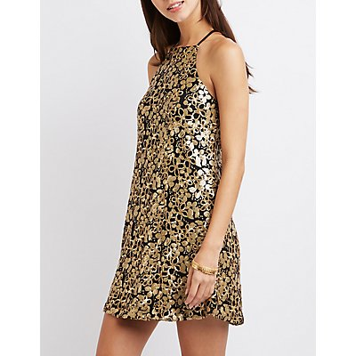 Sequin Bib Neck Shift Dress