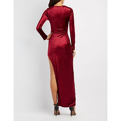 Velvet Asymmetrical Maxi Dress
