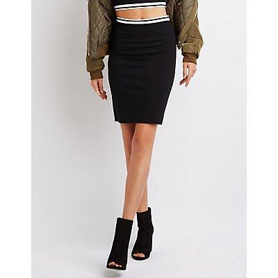 Varsity Striped Bodycon Skirt