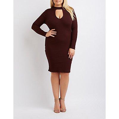 Plus Size Ribbed Mock Neck Keyhole Dress