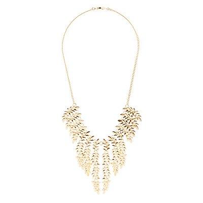 Plus Size Leaf Bib Necklace