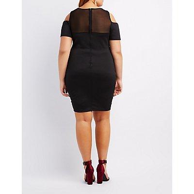 Plus Size Mesh-Trim Cold Shoulder Dress