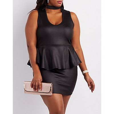 Plus Size Choker Neck Peplum Dress