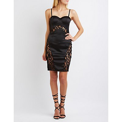 Lace-Inset Bustier Bodycon Dress