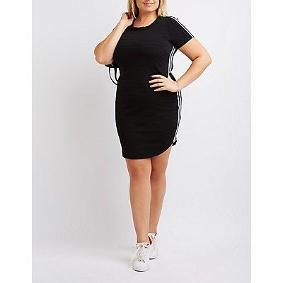 Plus Size Varsity Stripe Bandage Dress
