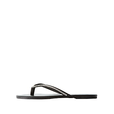 Rhinestone Strap Thong Sandals