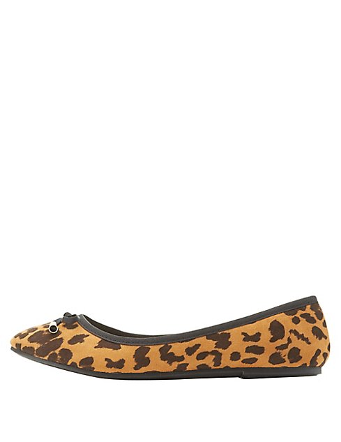 a97745f62f22 Leopard Bow Ballet Flats | Charlotte Russe