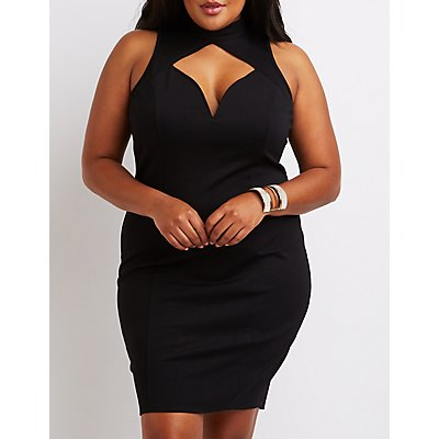 Plus Size Mock Neck Cut-Out Bodycon Dress