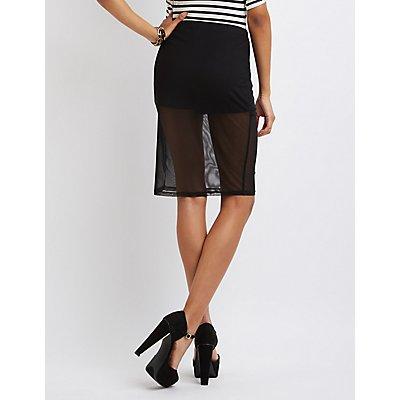 Sheer Mesh Pencil Skirt