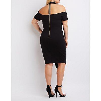 Plus Size Floating Mock Neck Bodycon Dress