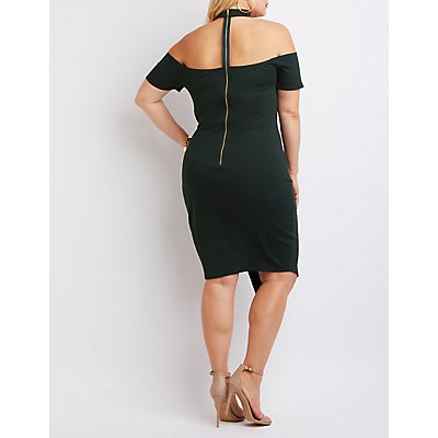 Plus Size Floating Mock Neck Bodycon Dress