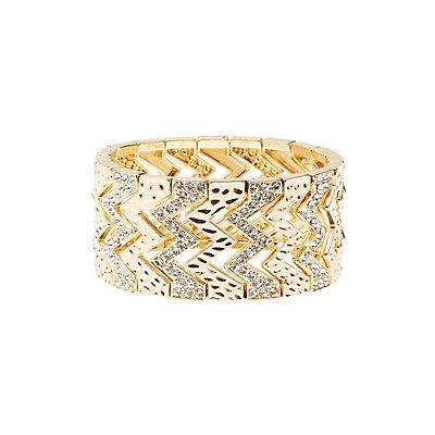 Plus Size Embellished Stretch Cuff Bracelet