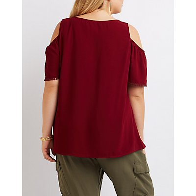 Plus Size Tassel-Tie Cold Shoulder Top