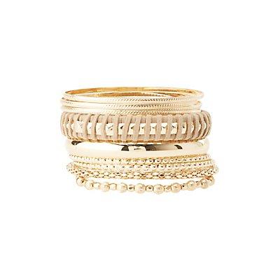 Plus Size Metal Bangle Bracelets - 10 Pack