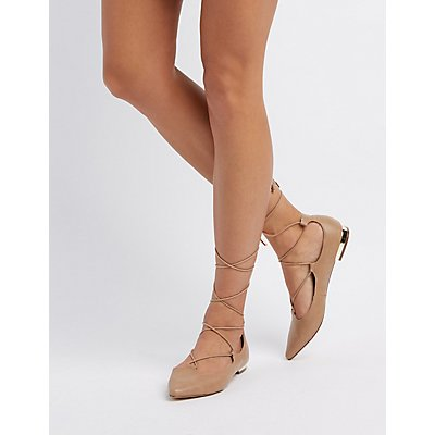 Lace-Up Pointed Toe Gold-Heel Flats