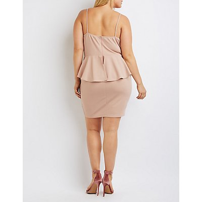 Plus Size Caged Lattice Peplum Dress