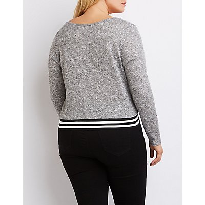 Plus Size Striped Waistband Sweater