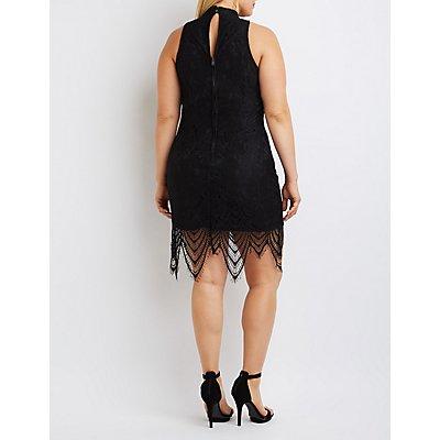 Plus Size Lace Mock Neck Bodycon Dress