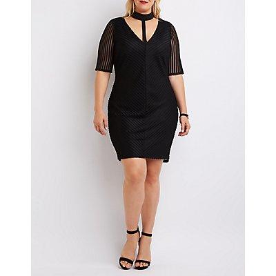Plus Size Shadow Stripe T-Strap Bodycon Dress