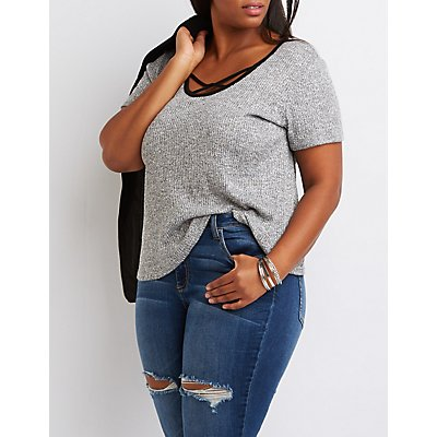 Plus Size Strappy Ringer Ribbed Tee