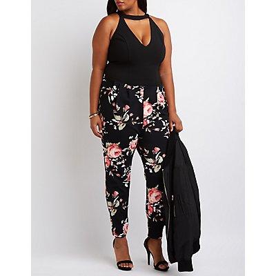 Plus Size Floral Combo Jumpsuit