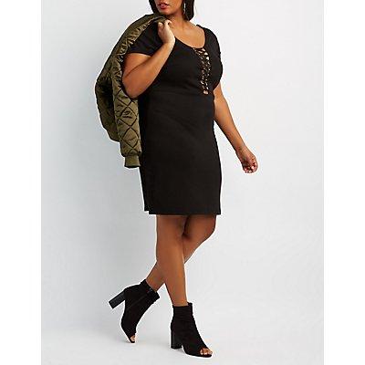 Plus Size Lattice-Front Bodycon Dress
