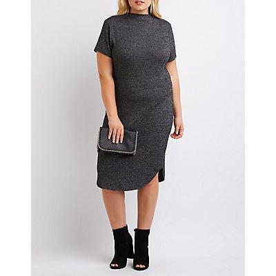 Plus Size Ribbed Mock Neck Bodycon Dress