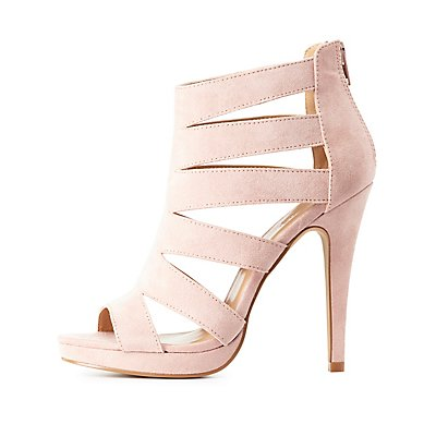 Caged Peep Toe Ankle Booties