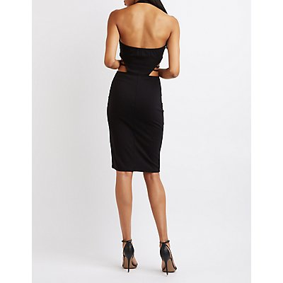 Caged Halter Bodycon Dress