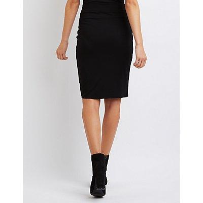 Zipper-Trim Pencil Skirt