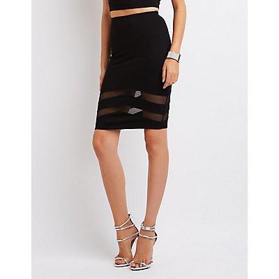 Mesh-Trim Pencil Skirt
