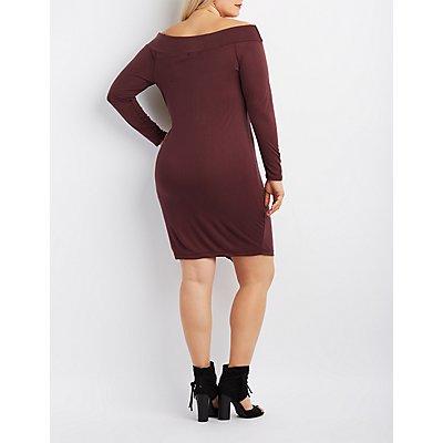 Plus Size Ribbed Off-The-Shoulder Envelope Hem Dress