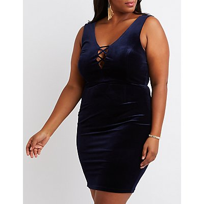 Plus Size Velvet Lattice Bodycon Dress