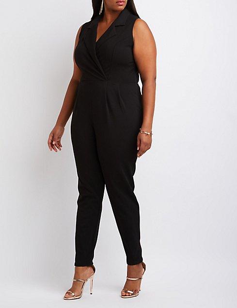 Plus Size Tuxedo Jumpsuit Charlotte Russe