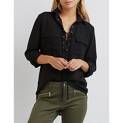 Lace-Up Collared Shirt
