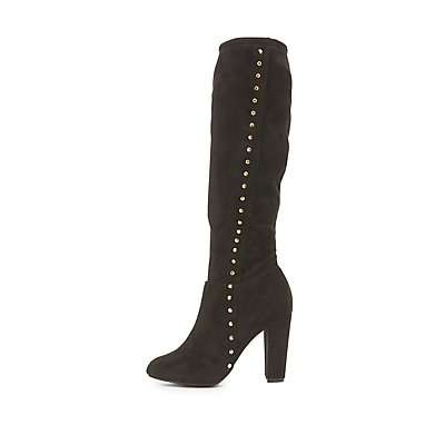 Studded Knee-High Boots